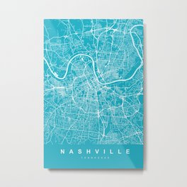 Nashville Map Tennessee | Blue & Cyan II | More Colors, Review My Collections Metal Print
