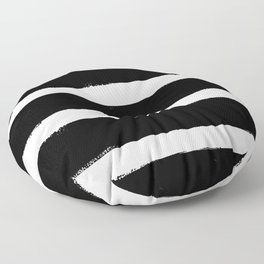 Black & White Paint Stripes by Friztin Floor Pillow