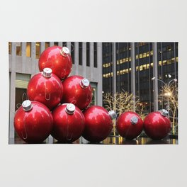 Huge Christmas Ball Ornaments in NYC Rug
