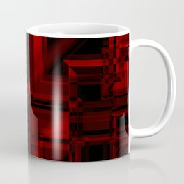 Metallic pattern of red squares with mirrored frames of dark rectangles.  Coffee Mug