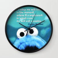 cookie monster Wall Clocks featuring Cookie Monster Motivational by Tiffany Taimoorazy