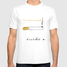 ceci n'est pas SMALL White Mens Fitted Tee