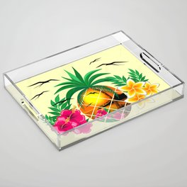 Pineapple Tropical Sunset, Palm Tree and Flowers Acrylic Tray
