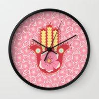 hamsa Wall Clocks featuring Hamsa by Moirarae