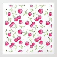 Watercolor cherry pattern Art Print