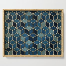 Shades Of Turquoise Green & Blue Cubes Pattern Serving Tray