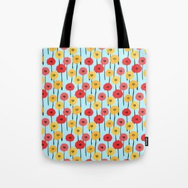 Bright Sunny Mod Poppy Flower Pattern Tote Bag