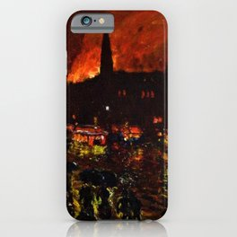 Classical Masterpiece 'Alarm Firelight - Boston' by Frederick Childe Hassam iPhone Case