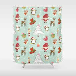 Christmas Elements Reindeer Design Pattern Shower Curtain