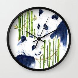 """""""Harmony"""" Panda and Bamboo Watercolor Wall Clock"""