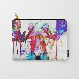 Moose Watercolor Grunge Carry-All Pouch