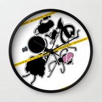 regular show Wall Clocks featuring Regular Murder Show by zombieCraig by zombieCraig