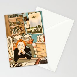 Dana Scully sit to the Fox Mulder's office Stationery Cards