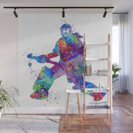 Girl Field Hockey Goalie Watercolor Print Sports Art Gifts Painting Home Decor Wall Mural