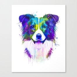 Border Collie watercolor, Watercolor Border Collie, Watercolor dog, Border Collie portrait Canvas Print