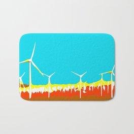 wind turbine in the desert with blue sky Bath Mat