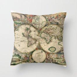 1689 Map of the World by Gerard van Schagen Throw Pillow