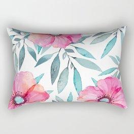 Pink Garden Flowers Rectangular Pillow