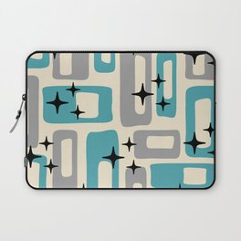 Retro Mid Century Modern Abstract Pattern 223 Blue and Gray Laptop Sleeve