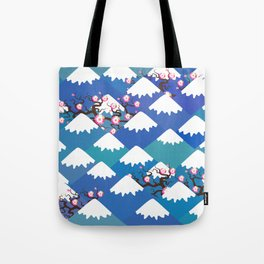 Spring Nature background with Japanese cherry blossoms, sakura pink flowers landscape. blue mountain Tote Bag