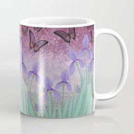 butterflies dance in purple skies above irises Coffee Mug