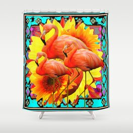 TRIPLE PINK FLORIDA FLAMINGS YELLOW-TURQUOISE BABSTRACT ART DESIGN Shower Curtain