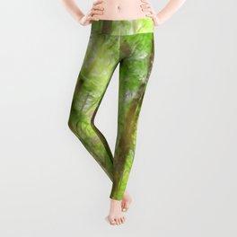 Spring Green Forrest Watercolor Light Leggings