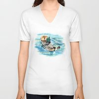 otter V-neck T-shirts featuring Otter by Anna Shell