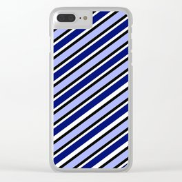 Dk Blue light blue black white diagonal stripe Clear iPhone Case