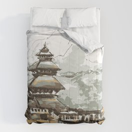 Himalayan Temple in Nepal Comforters