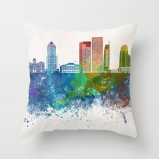 Portland V2 skyline in watercolor background Throw Pillow
