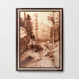 Pyrography Forest River Nature Mountain Burned Wood Metal Print