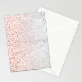 Blush Pink Sparkles on White and Gray Marble Stationery Cards