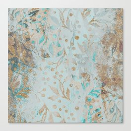 Pastel Botanical Watercolor Pattern Teal Gold Glitter Canvas Print