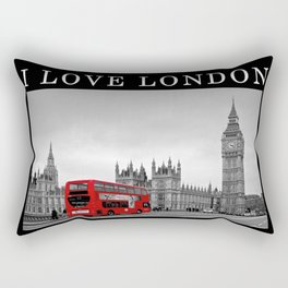Black and White London with Red Bus Rectangular Pillow