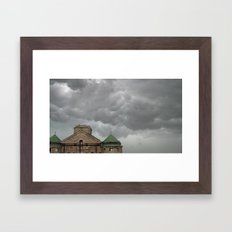 Church remains in a stormy sky. Framed Art Print