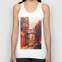 new york city Tank Tops featuring New York City Alley by Vivienne Gucwa