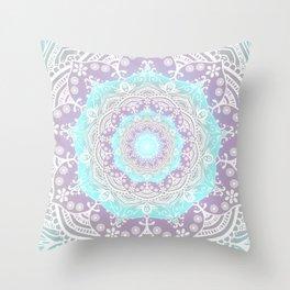 Bohemian Heaven Mandala Purple Blue White Throw Pillow