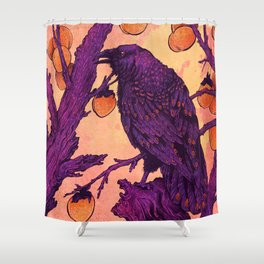 Raven and Persimmons Shower Curtain
