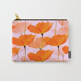Orange Poppies On A Pink Background #decor #society6 #buyart Carry-All Pouch