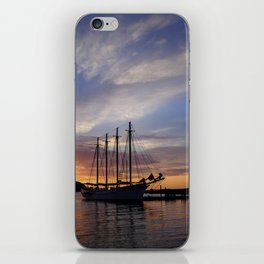 Schooner at sun rise iPhone Skin