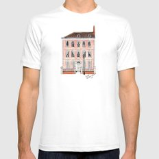 Queens Square Bristol by Charlotte Vallance Mens Fitted Tee MEDIUM White