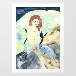 Siren and Narwhale Art Print