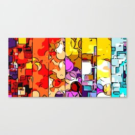 psychedelic geometric graffiti drawing and painting in orange pink red yellow blue brown purple and Canvas Print