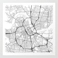 Nashville Map, USA - Black and White Art Print