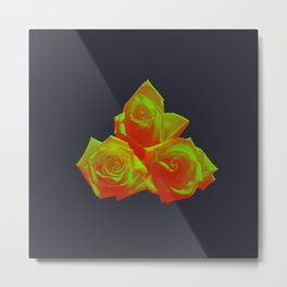 Neon Rose - Triplet - Eggplant Metal Print
