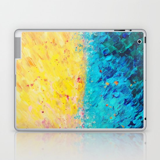 THE DIVIDE - Stunning Bold Colors, Ocean Waves Sun, Modern Beach Chic Theme Abstract Painting Laptop & iPad Skin