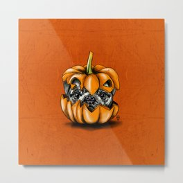 Halloween Pumpkin Pug Metal Print