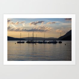 Sunset Annecy Boats Art Print
