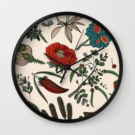 Pattern from field flowers and herbs Wall Clock